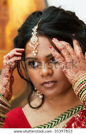 A young hindu woman prepares for her wedding day