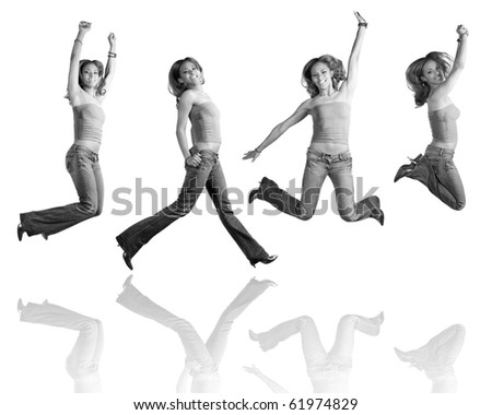 A young Hispanic girl in her early twenties jumping in the air in four different poses with reflections over white. - stock photo