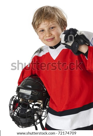 A young hockey player in uniform, isolated on white - stock photo