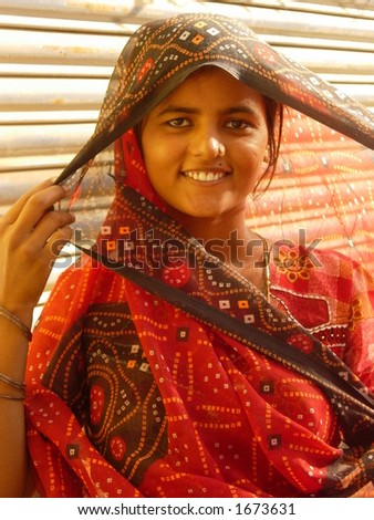 a young indian woman posing - stock photo