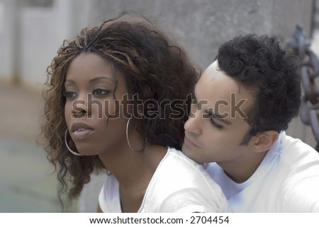 A young interracial couple in love