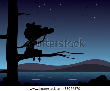 A young kid looking out into the night - stock photo