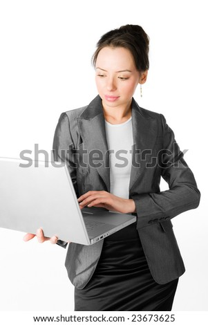 A young lady with a notebook on white background