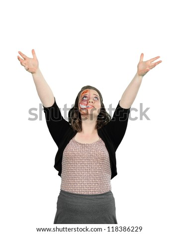 A young lady with gorey mutant halloween stage makeup isolated on white - stock photo