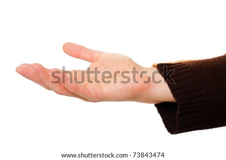 A young male hand held out, isolated on white. - stock photo