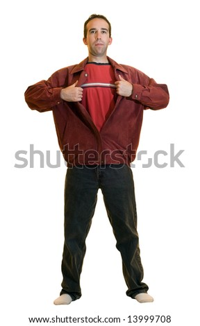 A young male ripping open a red jacket pretending to be a super hero, isolated on a white background - stock photo