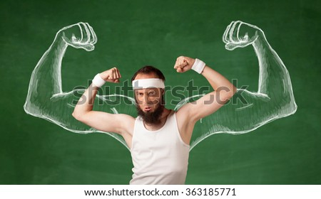A young male with beard and glasses posing in front of green background, imagining how he would look like with big muscles, illustrated by white drawing concept. - stock photo