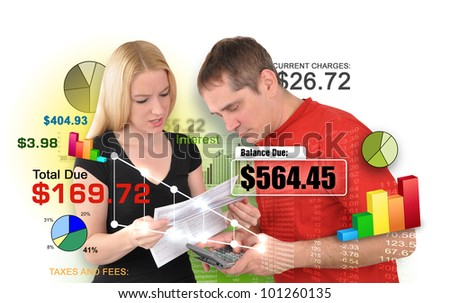A young man and woman couple are looking at bills and calculating payments and interest charges. There is a white background. Use it for a financial problem concept.