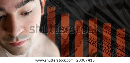 A young man contemplates the bad situation of a bad economy or other financial loss.  He could be stressed out due to going through a divorce or other legal dispute. - stock photo