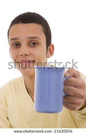 A young man giving you a coffee blue mug