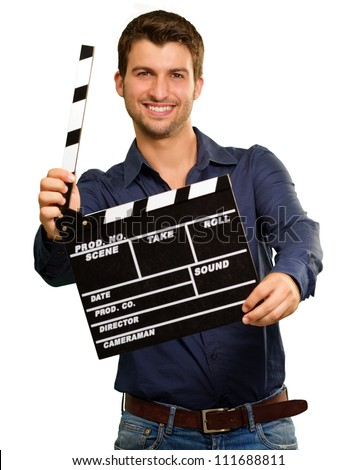 A Young Man Holding A Clapboard On White Background - stock photo
