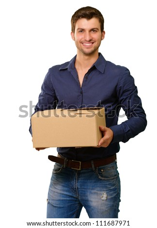 A Young Man Holding Cardboard Box On White Background - stock photo