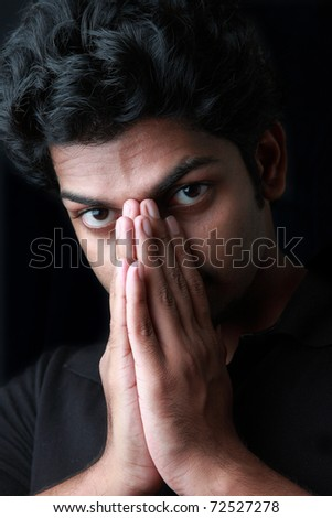 A young man in a depressed mood - stock photo