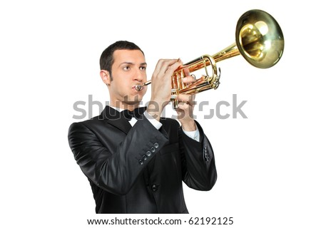A young man in suit playing a trumpet isolated on white background - stock photo