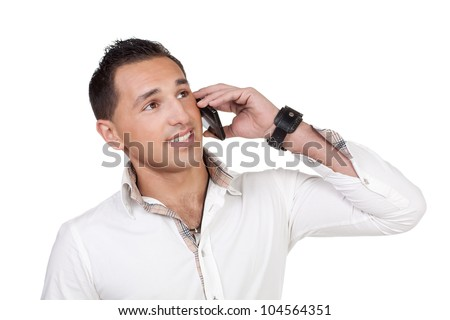 A young man is talking to someone over phone.