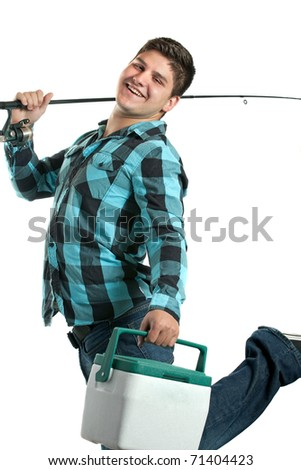A young man poses with his fishing reel and beer cooler isolated over a white background. - stock photo
