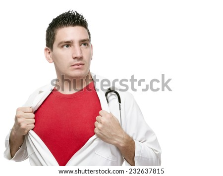 A young man representing a superman like doctor as he removes his gown and has a red shirt underneath