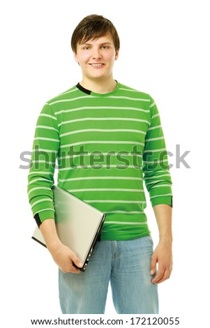 A young man standing  with a laptop, closeup - stock photo