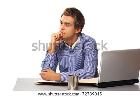 a young man thinking - stock photo