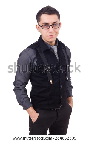 A young man wearing suit isolated on white - stock photo