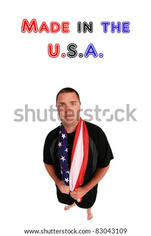 a young man who is proud to be an american, isolated on white. image shot with a fisheye lens for a nice distorted view. room for your text - stock photo