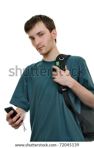 A young man with a backpack and a smartphone