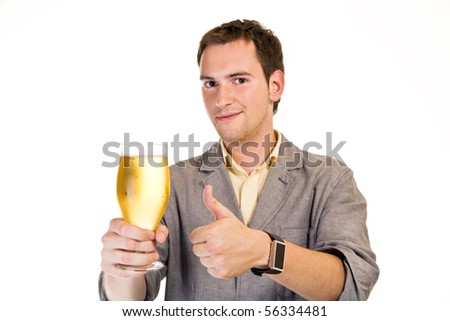 A young man with a beer - stock photo