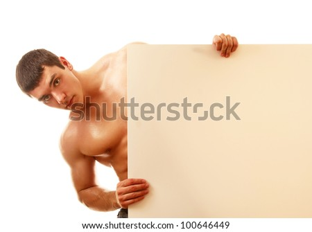A young man with a blank, isolated on white - stock photo