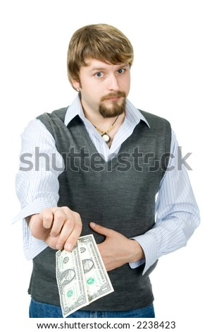 A young man with 2 dollars, focused on bills