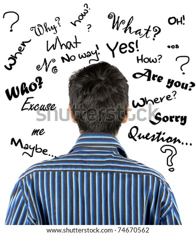 A young man with doodle question words floating in the background - stock photo
