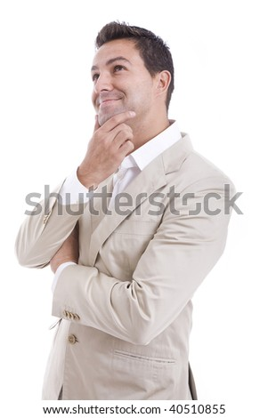 a young man with his hand on his smiling face - stock photo