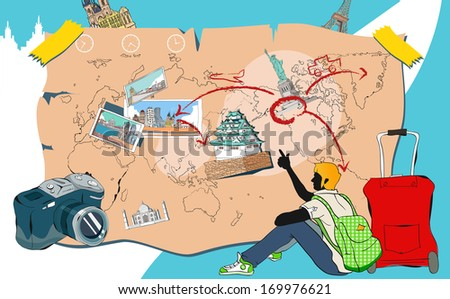 A young man with luggage pointing to a map. - stock photo