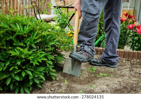 A young man working in the garden - stock photo