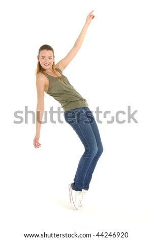 a young nice girl dancing modern dances on white