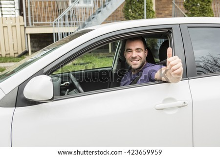 A Young owner man with his car  - stock photo