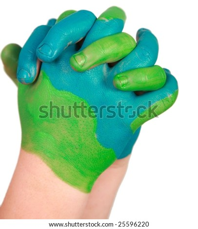 a young pair of hands painted like the earth