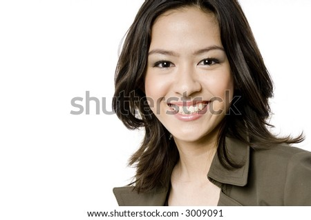A young pretty woman on white background - stock photo