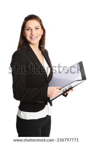 A young professional businesswoman wearing a suit and white shirt, holding a clipboard. White background. - stock photo