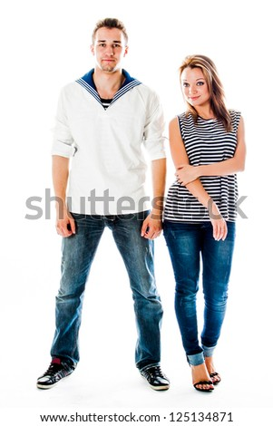a young sailor with a beautiful young woman - stock photo
