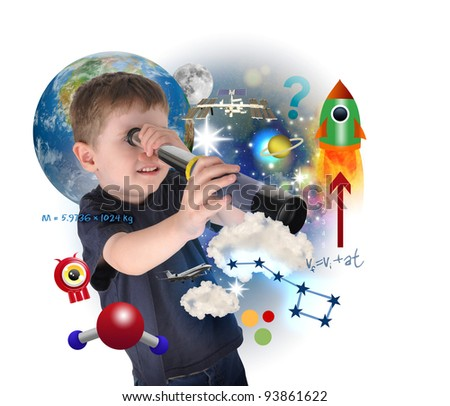 A young science boy is looking into space with carious astronomy icons. There is a white background with a planet. Use it for an education concept. - stock photo