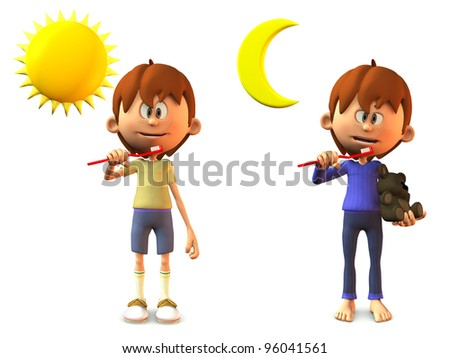 A young, smiling cartoon boy holding a toothbrush, ready to brush his teeth in the morning and in the evening. White background. - stock photo