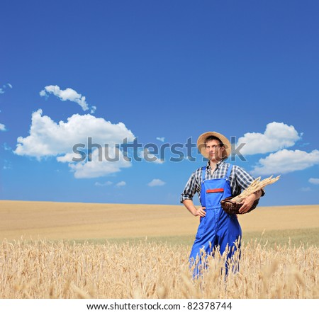 A young smiling farmer with posing in a wheat field - stock photo