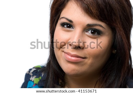 A young Spanish model isolated over white. - stock photo