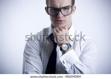 A young stylish man standing - stock photo