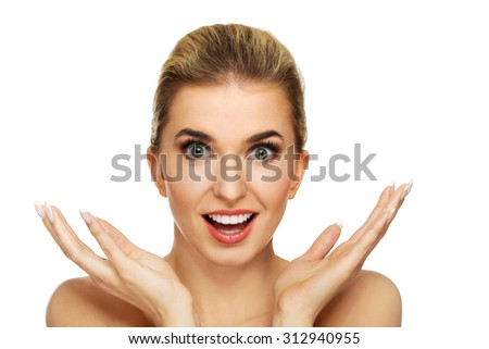 A young surprised woman isolated on white