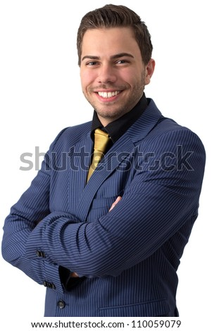 A young sympathetic businessman in a Blue suit with a golden tie