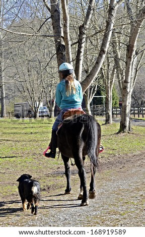 A young teen girl riding her horse to the barn being followed by a dog. - stock photo