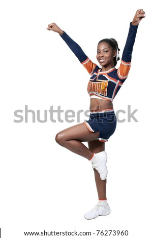 A young teenage black african American cheerleader - stock photo