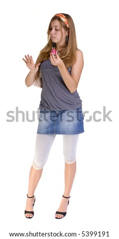 A young teenage Girl putting on finger nail polish( family, friends, growing up, youth) - stock photo