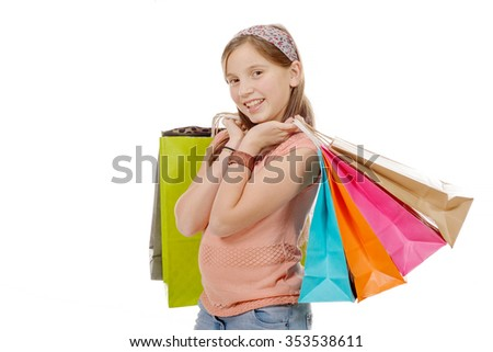 a young teenager hold with shopping bag  - stock photo